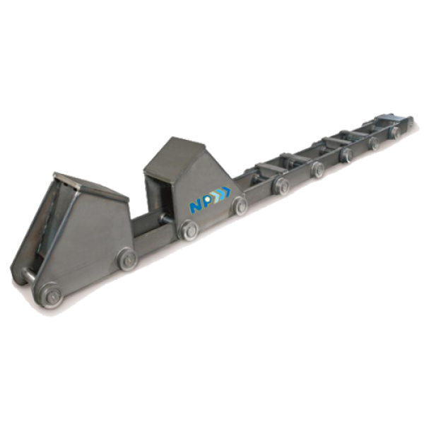 Hump conveyor chain for hot coil transport